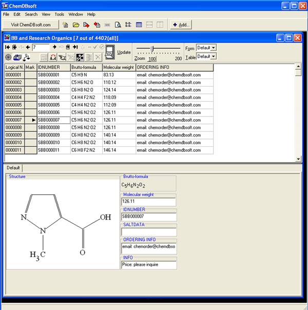 Click to view ChemDBsoft Academic Lite screenshot